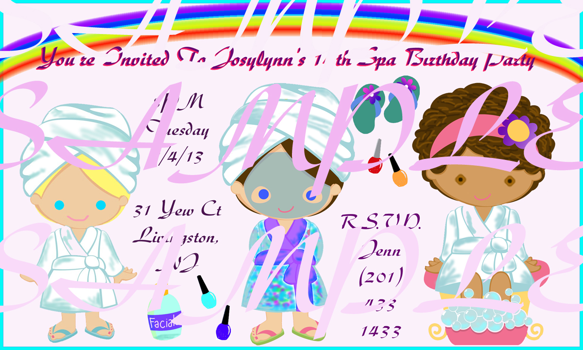 Kids Spa Party Invitations Girls Spa Party Invitations – Spa Party Invitation Wording