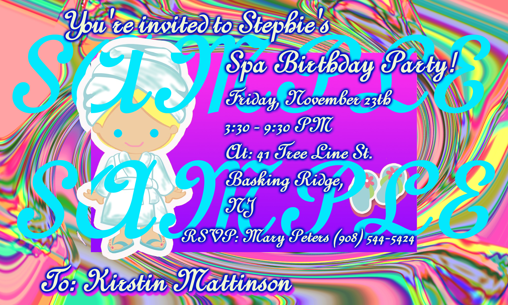 Kids spa party spa parties for girls spa birthday party girls kids spa party invitation design cartoonish blonde spa girl with murano swirled glass pattern background stopboris Image collections