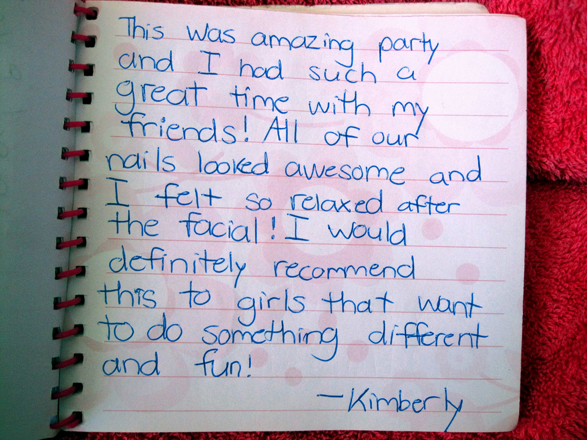Kids Spa Party Reviews