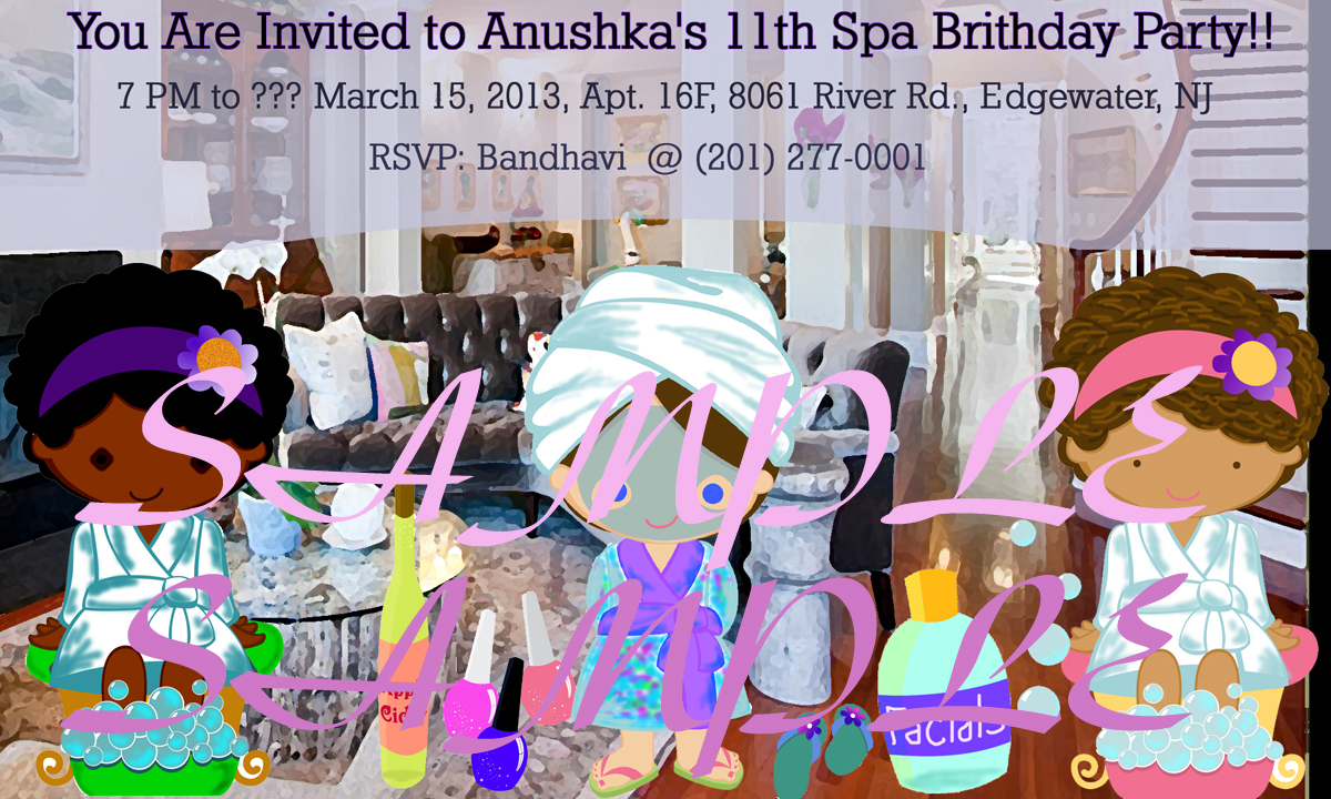 Kids At Home Home Spa Party Invitation Design - 3 Cartoonish Cute Girls Having a Spa Party In a Stlyish Home